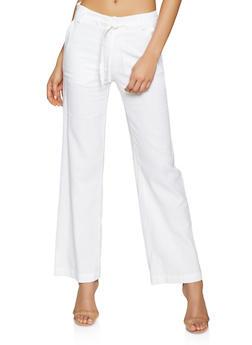 Tie Front Linen Pants - 1061051064514