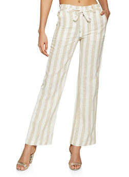 Striped Tie Front Linen Pants - 1061051064545