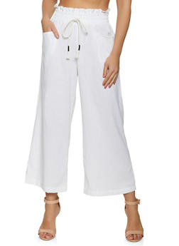 Paper Bag Waist Cropped Palazzo Pants - 1061051064563
