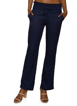 Smocked Waist Flared Linen Pants - 1061051064575