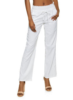 Smocked Drawstring Waist Linen Pants - 1061051064576