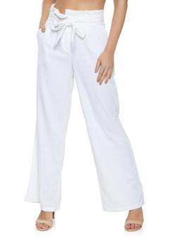 Tie Paper Bag Waist Pants - 1061051064577