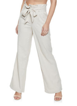 Tie Paper Bag Waist Pants - 1061051064577