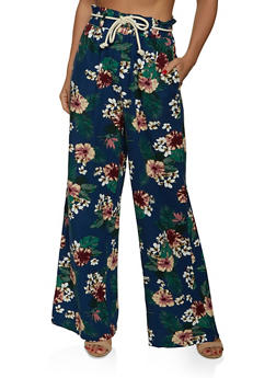 Floral Paper Bag Waist Belted Palazzo Pants - 1061051064578
