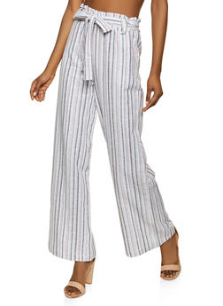 Belted Striped Paper Bag Waist Pants - 1061051064583