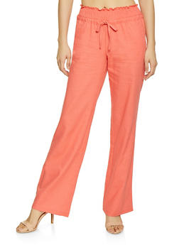 Solid Smocked Waist Linen Pants - 1061051064949