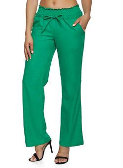 Drawstring Smocked Waist Linen Pants - 1061051065514