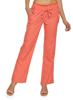 Drawstring Smocked Waist Linen Pants - 1061051065514