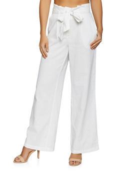 Paper Bag Waist Linen Pants - 1061051065656