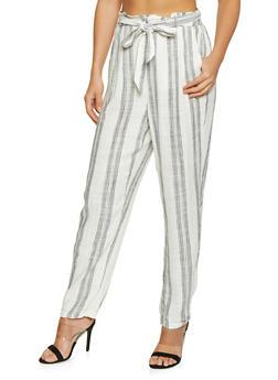 Linen Striped Pants - 1061051065893