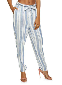 Linen Striped Pants - 1061051065893