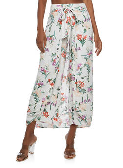 Floral Tie Front Palazzo Pants - 1061051066379