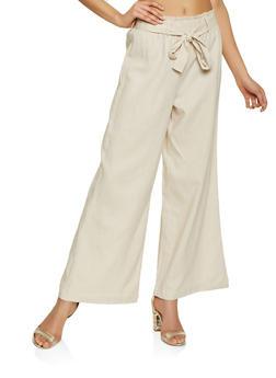 Paper Bag Tie Waist Linen Pants - 1061051067575