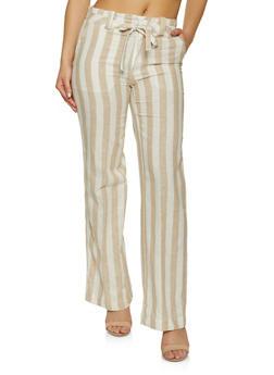 Striped Linen Tie Front Pants - 1061051069415