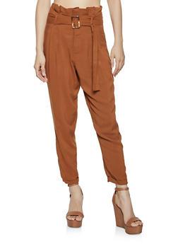 Belted Paper Bag Waist Cuffed Pants - 1061051069430