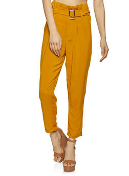 Belted Paper Bag Waist Cuffed Pants - 1061051069430