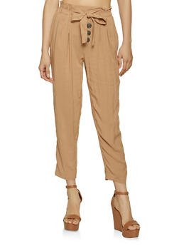 Lightweight Tie Front Trousers - 1061051069431
