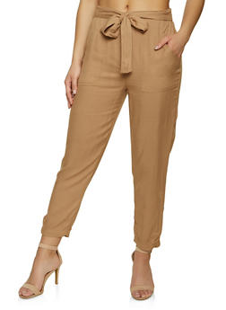 Tie Waist Lightweight Trousers - 1061051069456