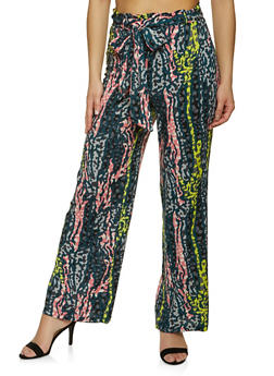 Tie Front Printed Palazzo Pants - 1061051069459