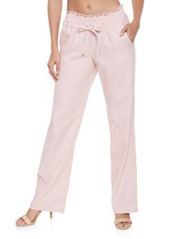 Smocked Waist Linen Pants - 1061051069494