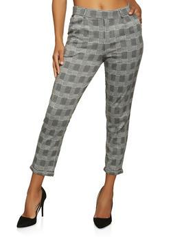 Plaid Pull On Dress Pants - 1061054260528