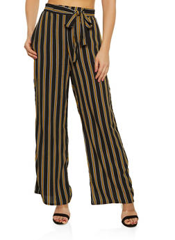 Striped Tie Front Palazzo Pants   1061054261211 - 1061054261211