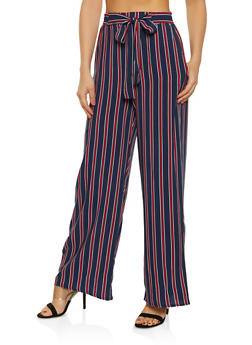 Striped Tie Front Palazzo Pants | 1061054261211 - 1061054261211