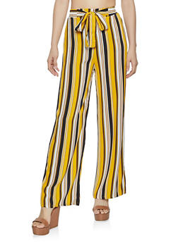 Tie Front Striped Wide Leg Pants - 1061054261213