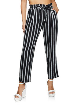 Striped Linen Tie Waist Pants - 1061054262013