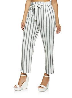 Striped Linen Tie Waist Pants - 1061054262013