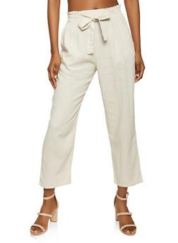 Tie Front Linen Paper Bag Waist Pants - 1061054262297