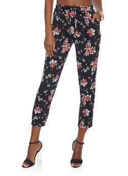 Floral Paper Bag Waist Pants - 1061054264843