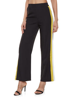 Crepe Knit Side Stripe Trim Pants - 1061054267845
