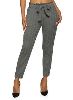 Herringbone Tie Waist Pants - 1061054268327
