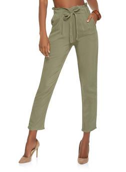 Paper Bag Waist Dress Pants - 1061054269993