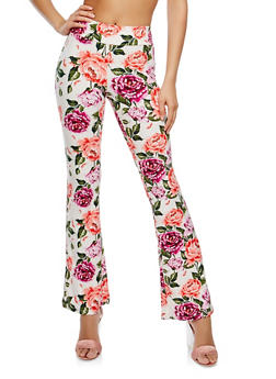 Soft Knit Floral Flared Pants - 1061061638172