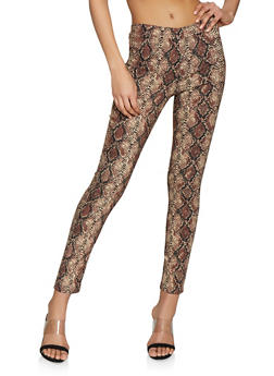 Pull On Snake Print Stretch Pants - 1061062416256
