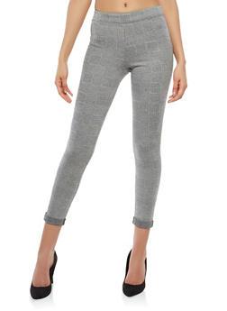 Plaid Cuffed Stretch Pants - 1061062416643