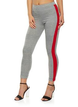 Side Stripe Plaid Leggings - 1061062416678