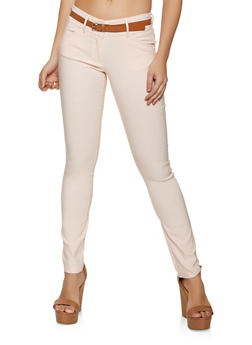 Two Button Belted Stretch Pants - 1061062700700