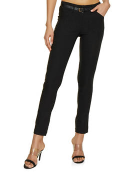 Two Button Belted Stretch Dress Pants - 1061062700707