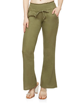 Smocked Waist Wide Leg Linen Pants - 1061062707007