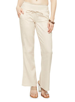 Smocked Waist Wide Leg Linen Pants - 1061062707007