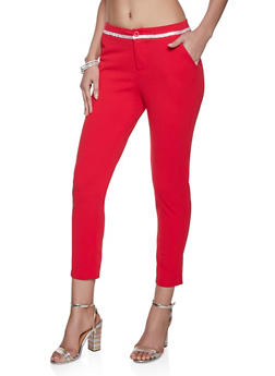 Rhinestone Detail Dress Pants - 1061062707062