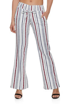 Striped Linen Smocked Waist Pants - 1061062707175