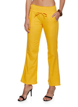 Smocked Drawstring Waist Linen Pants - 1061062707177