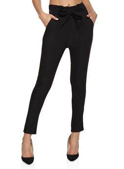 Paper Bag Waist Stretch Dress Pants - 1061062707332