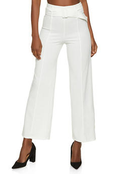 Belted Pintuck Palazzo Pants - 1061062707345