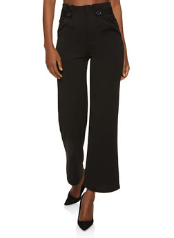 Tabbed Button Waist Detail Palazzo Pants - 1061062707379