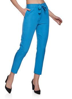 4 Button Tie Waist Pants - 1061062707452